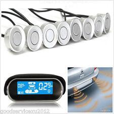 Car LCD Display Dual-Core Silver 8 Sensors Reverse Backup Radar Buzzer Alert Kit