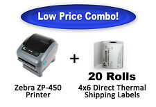Zebra ZP450 Thermal Label Printer (Brand New) + 5,000 4x6 Direct Thermal Labels