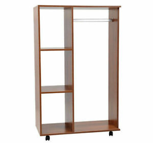 Modern Open Wardrobe Portable Wooden Closet Storage Shelves Clothes Rail Brown