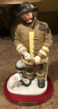 Vintage Flambro Emmett Kelly Jr. Clown Figurine Fireman Dog Hose Hydrant 1995