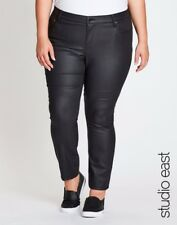 Plus Size Black STUDIO EAST COATED DENIM PANTS Size 22 FREE POST AUS WIDE