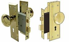 Door Brass Locks Antique Vintage Hardware Set Knob Mortise 2-1/4 in Handle New