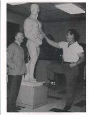 bodybuilder JOHN GRIMEK w/Life Size Sculpture Of Himself ! Muscle Photo B&W