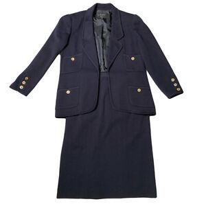 Vintage CHANEL Boutique Skirt Suit CC Buttons Navy Blue Blazer & Pencil Skirt 42