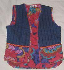 Vintage Denim Quilted Vest Waist Coat Gillet Contrast Liner Small