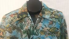 Vintage 70's SPIRE Polyester Disco SHIRT Jungle Tropical L/S Big Collar Size M