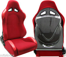 2 RED & CARBON LOOK BACK RACING SEATS RECLINABLE FIT FOR HONDA NEW