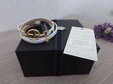 BN Emporio Armani Ladies White Leather Bracelet with Gold Charm