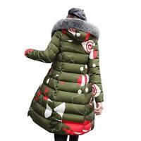 Damen Wintermantel Cotton Down Slim Steppjacke Kapuze Lange Warm Wende-Mantel L