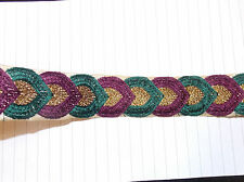 PLUM GREEN gold jacquard embroidered ribbon applique motif trimming decor