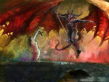 ART PRINT PAINTING DEVIL DEMON WOMAN WINGS TRIDENT HORNS BRIDGE COOL LFMP0206