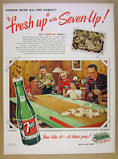 1950 7Up Seven-Up 7-Up family playing tabletop bowling photo vintage print Ad