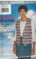 4468 Vintage UNCUT Butterick SEWING Pattern Misses Pin Weave Vest FF OOP