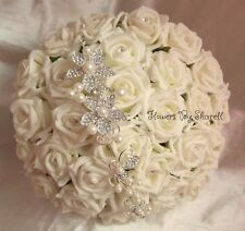 WEDDING FLOWERS IVORY CRYSTAL PEARL DIAMANTES BRIDES BOUQUET WEDDING BOUQUET