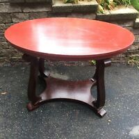 Antique Oval Wood Library Table 1900s