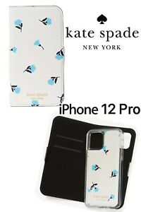 KATE SPADE NY iPhone 12 PRO Blue Dainty Bloom Flower MAGNETIC WALLET FOLIO Case