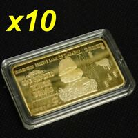 10 Pieces Zimbabwe 100 Trillion Dollars Gold Bullion Bar Ingot
