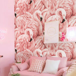 10M Romantic Pink Flamingo Feathers Non-woven Embossed Textured Wallpaper Roll