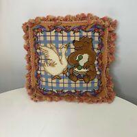 Tapestry pillow kids bear and duck tassel fringe velvet back brown 13x 14
