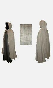 Mittelalter-Umhang Wolle-Baumwolle braun keltisch schottisch LARP Mantel Cape