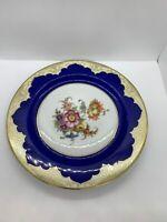 Vintage Bavaria Tirschenreuth Blue Floral with Gold Trim Dinner Plate Germany