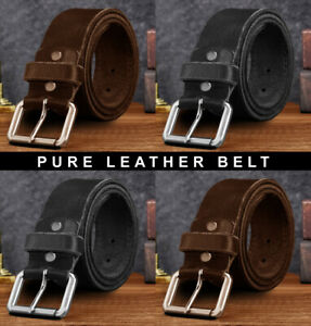 Mens Leather Belts Genuine Pure Leather 1.25, 1.5 High Quality Jeans Belt Buckle