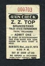 Original 1974 Zz Top concert ticket stub Fairgrounds Tulsa Ok Tres Hombres