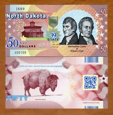 USA States, North Dakota, $50, Polymer, ND (2019), UNC > Lewis & Clark, Bison