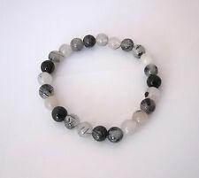 Natural rutilated black and white QUARTZ 8mm gemstone elastic bracelet