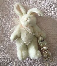"White 10"" Plush Bunny Rabbit Holding Glass Rabbit Ornament"