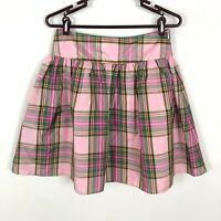 Lands' End Pink Green Plaid Silk Skirt Girls Size 16
