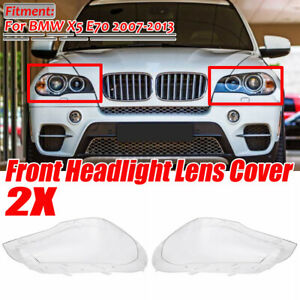 Pair Headlight Front Light Lamp Lampshade Lens Clear Cover For BMW X5 E70 07-13