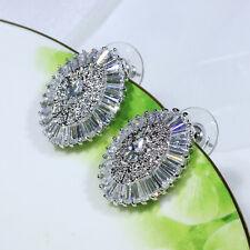 18K White Gold Filled Clear CZ Women Fashion Jewelry Drop Stud Earrings E2318