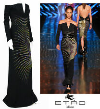 NEW $6660 ETRO CAMPAIGN BLACK MICRO BEADED DRESS GOWN 40 - 4