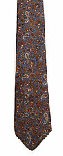 Men's New Neck Tie, Short, Skinny, Gray Brown paisley design by Christian Dior