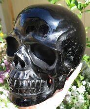 9LB 7.3OZ Fantastic Natural Obsidian Crystal Carving Art Skull