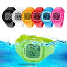 Men Women LED Soft Silicone Square Digital Wrist Watch Sport Waterproof Bracelet