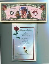 Mothers Day  Rose Pin And Million Dollar Bill
