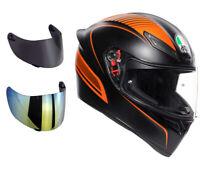 casco moto agv k1 arancione + visiera specchio+ visiera fume' + trasparente