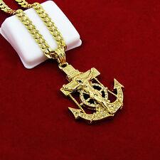 """Mens Gold Iced Out Cz Anchor Jesus Pendant 24"""" Cuban Chain Hip Hop Necklace D635"""