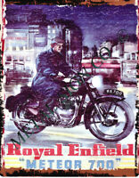 small ROYAL ENFIELD METEOR 700  METAL SIGN motorbike garage auto parts cycle