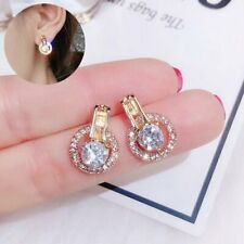 Fashion Round Crystal Earrings Simple Circle Ear Stud Women Wedding Jewellery