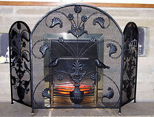 Victorian Style Fire Guard/Spark Screen/ Fireguard 3 PANELS Antique Repro Guard