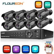 FLOUREON 8CH 1080N DVR 8x 3000TVL CCTV Outdoor Camera Home Security System Kit