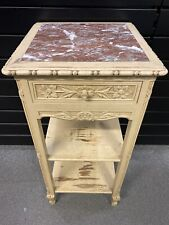 Plant Stand Antique 1 Drawer/ 19th/ Style Louis XVI Wood Painted, Marble