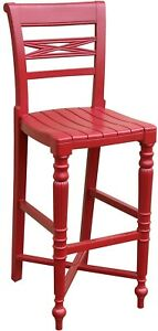 TRADE WINDS RAFFLES BAR STOOL TRADITIONAL ANTIQUE RED PAINTED MAHOGANY FRA