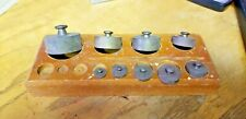 9 Antique Vintage Solid Brass Scale Balance Weight Set in wooden tray Grams