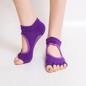 1 Pairs Non Slip Women Yoga Dance Exercise Socks Half Toe Toeless Ankle Grip