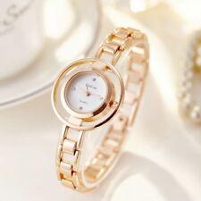 Rose Gold Women`s Double Round Faced Dress Rhinestone Quartz Bracelet Watches