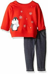 Carter's girl's 9 month red penguin snowflake sweatshirt jeans outfit set